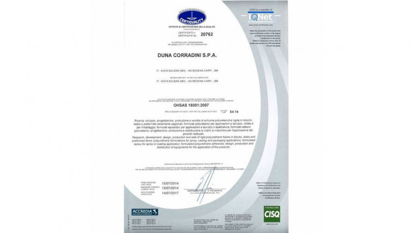 DUNA-Corradini obtains BS OHSAS 18001 certification.