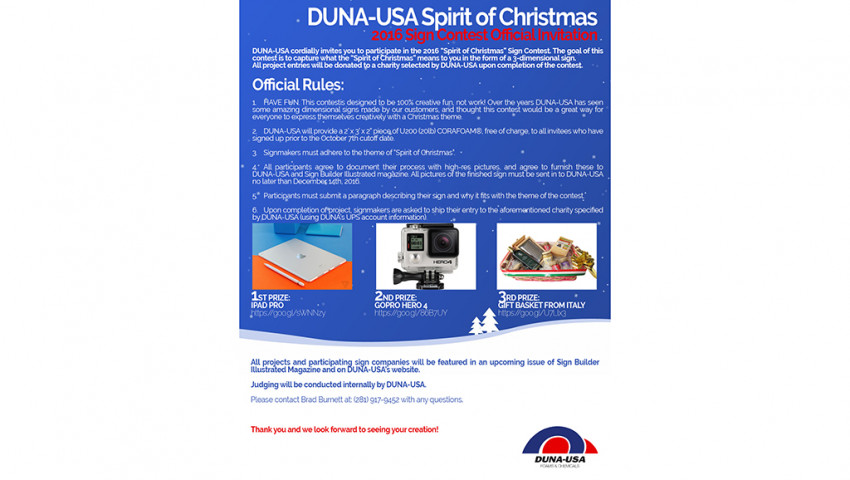"DUNA-USA Conducting ""Spirit of Christmas"" Sign Design Contest"